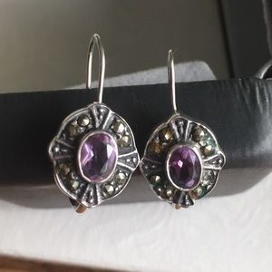 Jewelry - Amethyst Color Earrings with SS 925 wire backing